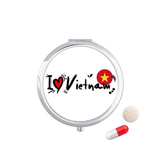 DIYthinker Ik hou van Vietnam Woord Vlag Liefde Hart Illustratie Reizen Pocket Pill Case Medicine Drug Opbergdoos Dispenser Spiegel Gift