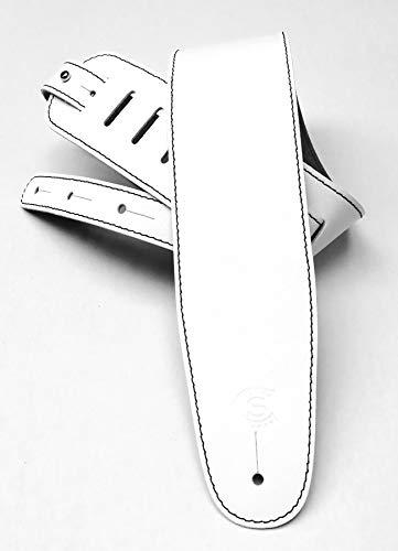 Tracolla per chitarra e basso pelle bianca larghezza 8cm Custom Style T1803P01