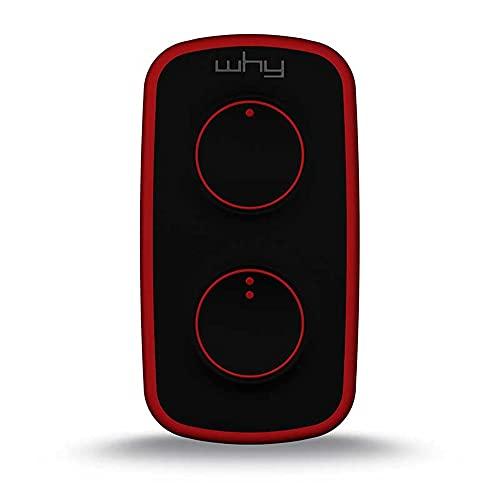 WHY EVO mini telecomando cancello universale rolling code vulcan red nero/rosso, radiocomando multifrequenza apricancello 4 tasti