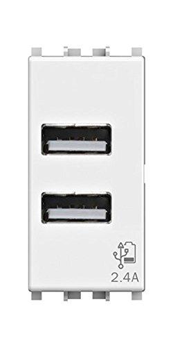 4Box USB-Buchse 2.4 Ampere, kompatibel mit Vimar Arké Weiß