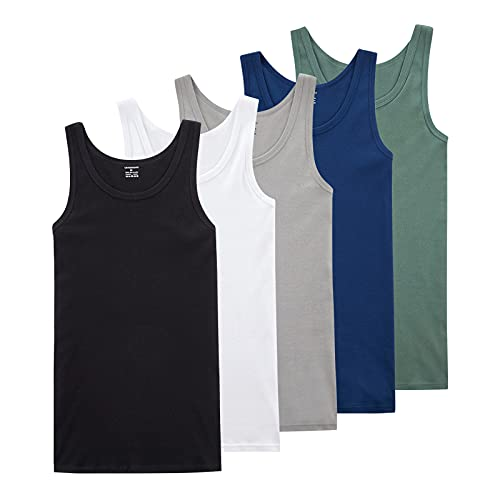PAUNEW Camiseta Tirantes Hombre 5 Piezas de 100% Algodón Camisetas Sin Manga para Gimnasio Mezcla de Colores M