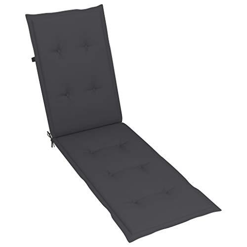 vidaXL Liegestuhl Auflage Liegenauflage Stuhlauflage Polsterung Deckchair Sonnenliege Liege Kissen Polster Polsterauflage Anthrazit (75+105) x50x4cm