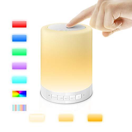 AFAITH Lampada da Comodino, LED Bluetooth Speaker, Oscurabile Cambiare Colore Bianco Touch Sensor Tavolo Luce di Notte Senza fili Portatile con Carta di TF, AUX Supporta a Mani Libere Microfono SA076