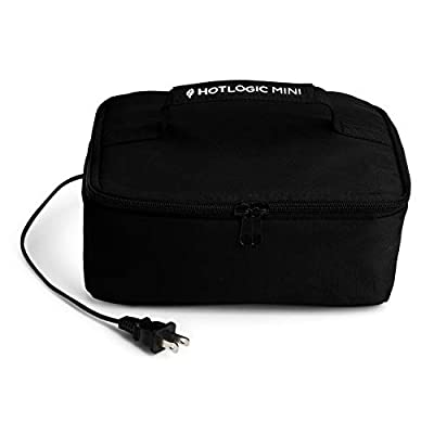 HOTLOGIC Food Warming Tote, Lunch Bag 120V, Black - Food Warmer and Heater ? Lunch Box for Office, Travel, Potlucks, and Home Kitchen