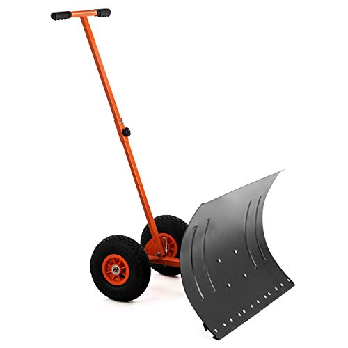 """GYMAX Wheeled Snow Pusher, Heavy Duty Rolling Snow Pusher with 29"""" Plate & Anti-Skid Wheels & Adjustable Handle, Driveway or Pavement Snow Removal Tool (Orange)"""