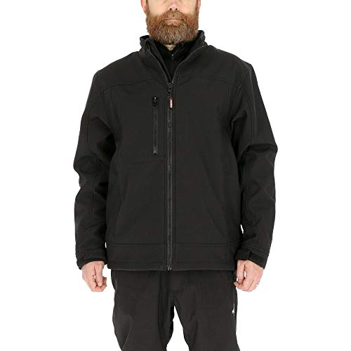 RefrigiWear Water-Resistant Insulated Softshell Jacket with Soft Micro-Fleece Lining (Black, Large)
