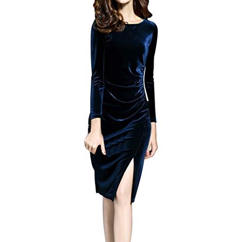 Damen Vintage Elegant Partykleid Cocktailkleid,Oliviavan Frauen Kleid Rundhals Samtkleid DREI Viertel Ärmelkleid S-Typ Bodycon Oberschenkellänge Business-Kleid