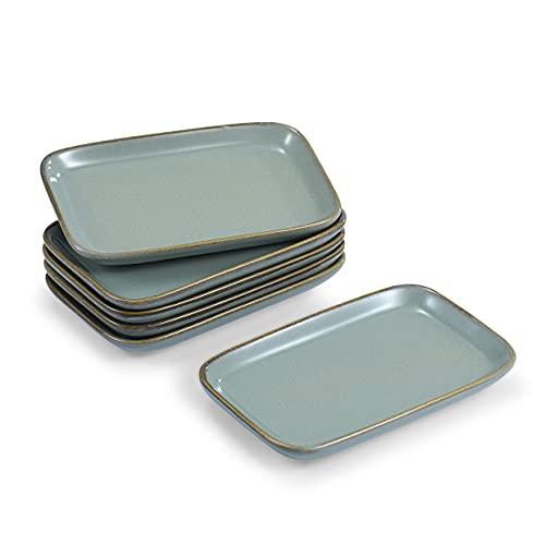 6 platos pequeños para aperitivos, 13,2 x 8,5 cm, 1,5 cm de alto, de porcelana, (color verde)