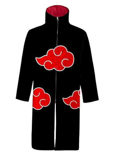 Piccodos Herren Damen Akatsuki The red Clouds Stehkragen Windjacke Regenmantel Cosplay Kostüm Umhang Mantel Strickjacke Version-04 Schwarz L (Chest 128cm)