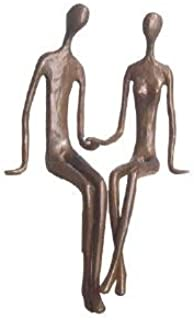 Danya B. ZD6349 Contemporary Sand-Casted Bronze Sculpture- Sitting Couple Holding Hands