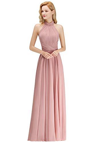 Babyonlinedress® Hochwertig Chiffon Kleid Abendkleid Hochzeitgäste Kleider Prom Dress Standesamt Lang Altrosa 38