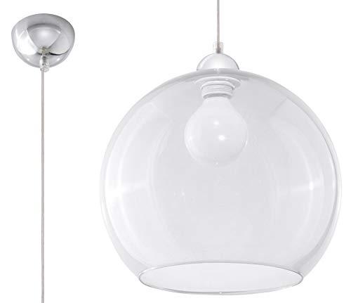 Sollux Lighting Suspension boule en verre Transparent Chrome