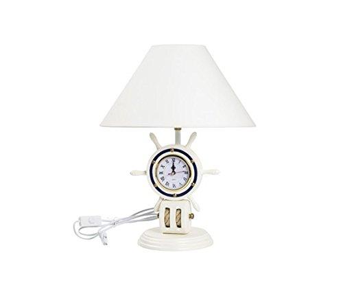 Lampe de table style marin avec gouvernail et abat-jour blanc H 48 cm