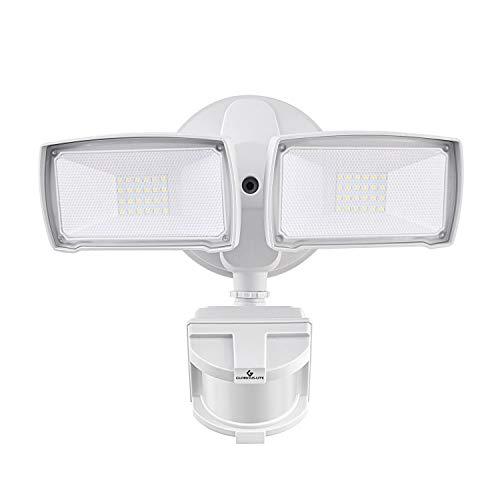 LED Security Lights, 28W 3000LM Motion Sensor Light Outdoor, GLORIOUS-LITE Super Bright 2 Head Outdoor Flood Light, 5500K, IP65 Waterproof, ETL Certified for Garage, Yard, Porch - White