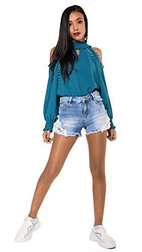 Crazy Age Damen Spitze Häkeln Tassel Hohe Taille Denim Shorts Lochjeans Jeans Hot Pants mit Taschen (38, R-581)