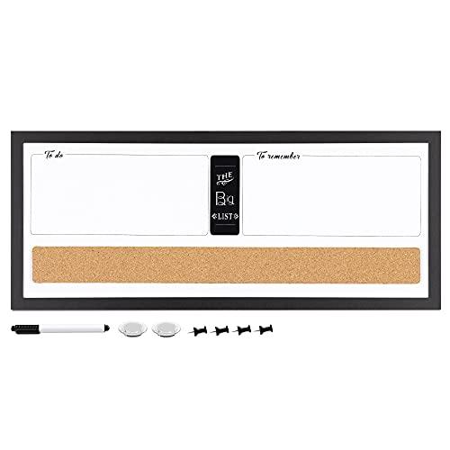 Navaris Kombitafel aus Whiteboard und Kork Pinnwand - Memoboard 60 x 25 cm mit magnetischer Tafel und Korkwand - inkl. Marker Pins Magnete