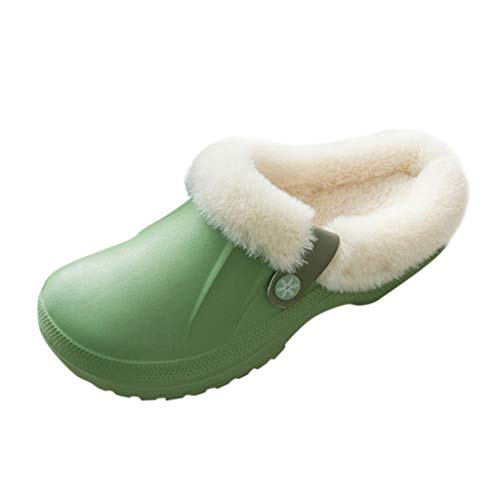 HDUFGJ Herren Damen Winter Hausschuhe Plüsch Warm Home Wasserdicht Slippers 35-36 EU(Grün)