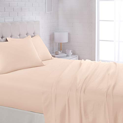 AmazonBasics Lightweight Super Soft Easy Care Microfiber Bed Sheet Set with 16' Deep Pockets - Queen, Blush Pink