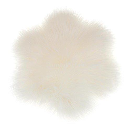 MagiDeal Blumen-Form Künstliche Schaffell Teppich in verschiedenen Farben, Größe: 60x60x6cm - Weiß