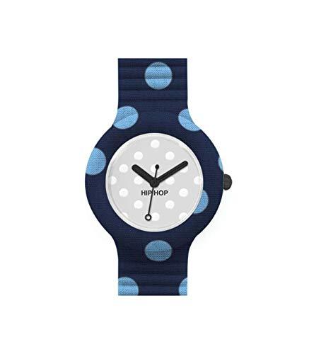 Orologio HIP HOP donna POIS quadrante bianco e cinturino in silicone, tessuto blu, movimento SOLO TEMPO - 3H QUARZO