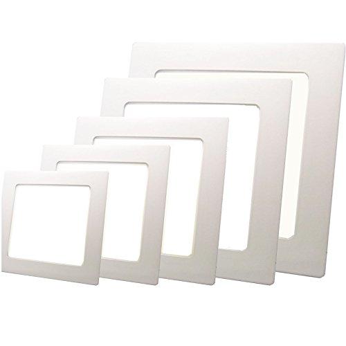Sienoc Panneau LED carré avec 18 W de puissance, blanc chaud – ECONOMY Lampe plafonnier applique murale encastrable, diamètre intérieur 200 mm, diamètre extérieur 225 mm