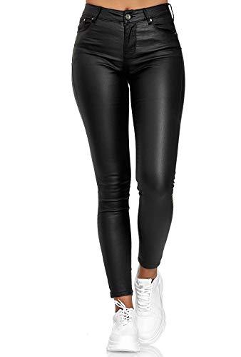 EGOMAXX Damen Hose Leder Optik Push Up + Classic Skinny Biker Pants, Farben:Schwarz-2, Größe:36