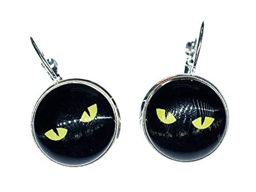 Miniblings Pendientes de ojo de gato, hechos a mano, ojo de gato, Halloween, color negro y amarillo,...
