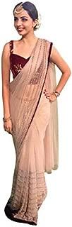 Matindra Enterprise Women's Nylon Net Saree(Cream)