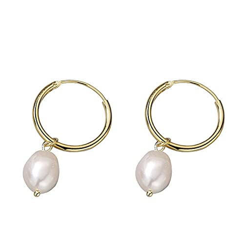 LBMTFFFFFF Pendientes de Plata con Perlas para Mujer Pendientes Colgantes de Plata de Ley 925 para Mujeres Y Niñas Regalos de Cumpleaños de San Valentín,Oro