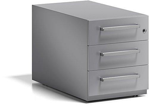 BISLEY Rollcontainer Note mit Griff, 3 Universalschubladen, Metall, 355 Silber, 77.5 x 42 x 49.5 cm