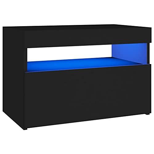 vidaXL TV Schrank mit LED-Leuchten Lowboard Fernsehschrank Fernsehtisch Sideboard HiFi-Schrank TV Möbel Tisch Board Schwarz 60x35x40cm