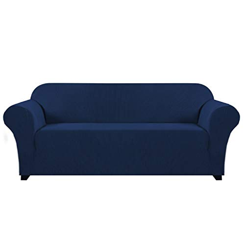 Soft Stretch Sofa Cover for 3 Cushion Couch Knitted Jacquard Fabric Sofa Cover Durable Lycra Furniture Protector Machine Washable/Skid Resistance Spandex Sofa Slipcover(3 Seater Sofa, Navy)