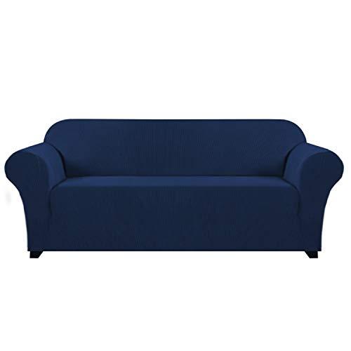 H. versailtex Elastic, Sofa Solid, rutschsicheren Displayschutzfolie Couch, Sessel Bettüberwurf Home Decor Stretch Sofa Bezug abnehmbar (für 1-Sitzer, grau), Textil, Navy, 3 Seater/Sofa