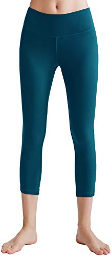 Oalka Women's Yoga Capris Running Pants Workout Leggings Teal Large
