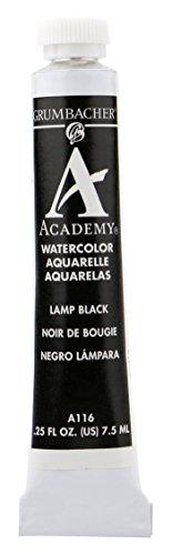 Grumbacher Academy Watercolor Paint, 7.5ml/0.25 Ounce, Lamp Black (A116)