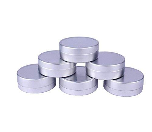 Qfeng 12 STKS Zilver Lege Aluminium Cosmetische Voorbeeld Verpakking Tins Cases met Platte Top Deksels Ronde Opslag Potten Containers voor Lip Balm DIY Zouten Kaarsen Oog Schaduw Poeder en Thee (10G/0.34oz)