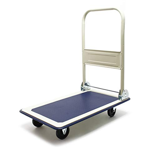 Schwerlast Plattformwagen bis 300kg mit klappbarem Bügelgriff und gummibezogener Ladefläche