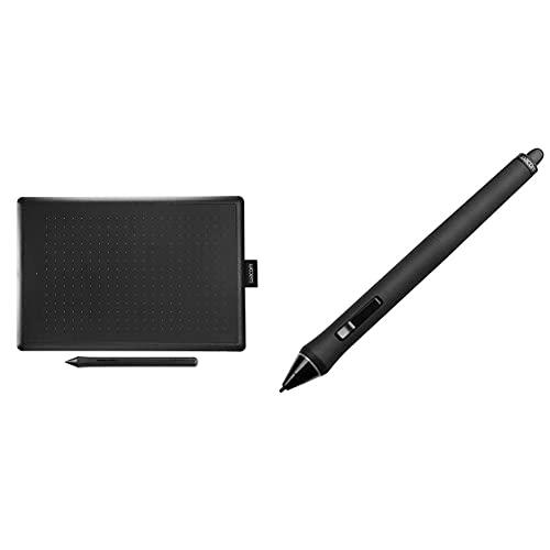 Wacom Medium Tavoletta Grafica Con Penna, Compatibile Con Windows, Mac, Chromebook, Adatta Per L'Home Office E L'E-Learning & Kp-501E-01 Grip Penna Per Cintiq E Intuos 4/5/Pro, Nero