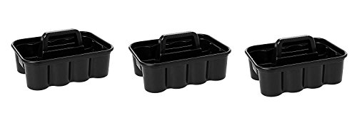 Rubbermaid Commercial Deluxe Carry Cleaning Caddy, Black (FG315488BLA) (3 PACK)