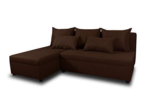 Ecksofa Pono mit Schlaffunktion - Couchgarnitur, Eckcouch, Sofa, Sofagarnitur, Bettsofa, L-Form Couch, Schlafsofa - Ottomane Universal (Braun (Sawana 26))