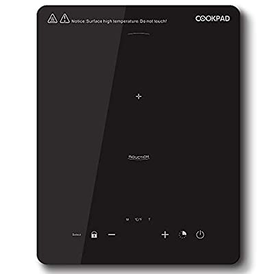 COOKPAD Portable Induction Cooktop,2000W Countertop Burner,Electric Plate with LED Display,Black Cooker