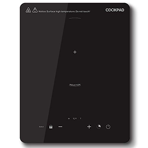 COOKPAD Induction Hob,Portable Hotpot, Electric Cooker, Single Cooktop, LED Display, Sensor Touch Control, 2-hour Timer, Black Polished Crystal Glass Panel, 2000W