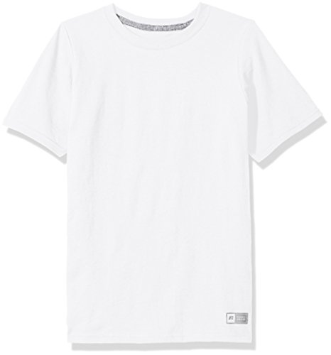 Russell Athletic Boys' Big Performance Cotton Short Sleeve T-Shirt, White, Large