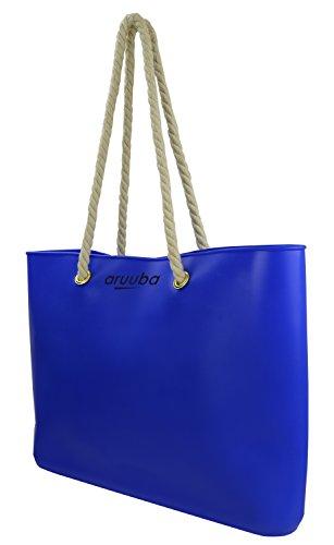 aruuba Silikon Shopper, Tasche, Strandtasche, Beutel mit Baumwollkordeln, Schultertasche, Shopperbag in drei Farben stylisch Einkaufstasche