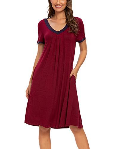 MINTLIMIT Damen Nachthemd Kurze Nachthemd Kurzarm Nachthemd Sleepshirt Schlafhemd (Weinrot,Größe L)
