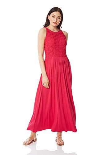 Roman Originals Maxi-jurk voor dames met kanten en volants - maxi-jurk, vloerlang, bandjes, zomer, vakantie, casual, strand, mouwloos, ronde hals