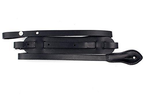 LeatherGraft cuero real correa para mandolina con diseño sencillo original, Color Negro
