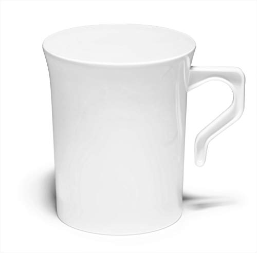' OCCASIONS' 40 Mugs Pack, Heavyweight Disposable Wedding Party Plastic 8 oz Coffee Mugs/Tea Cups/Cappuccino Cups/Espresso Cup with Handles (8 oz Mugs, Plain White)