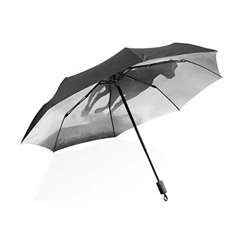 Auto Open Close Umbrellas,Running Horse Grey Automatischer Dreifach Gefalteter Regenschirm, Personalisierte Automatische Offene Regenschirme Zum Packen In Rucksäcken Koffer,61cm(H) x96cm(Dia)
