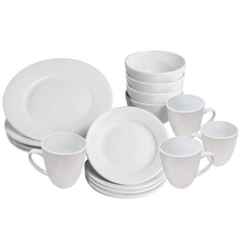 16 Piece White Dinner Set | Plates, Bowls and Cups | Porcelain Dinnerware | Service Set for 4 | Dishwasher and Microwave Safe | Kitchen & Dining | M&W